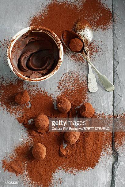 Chocolate candies rolled in cocoa