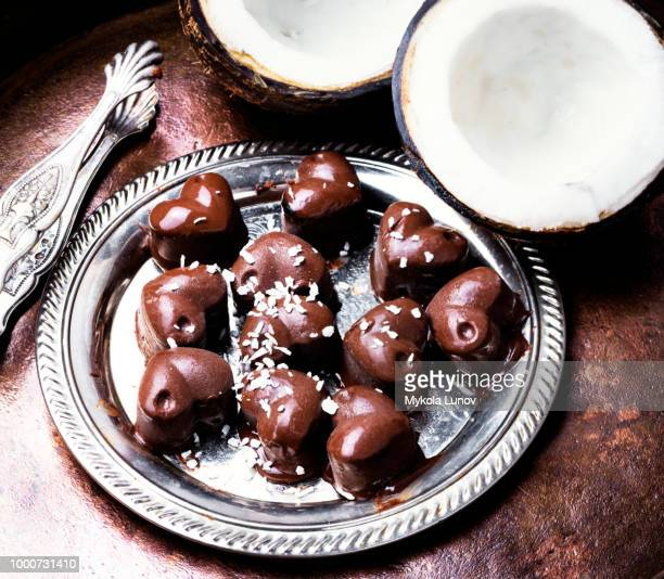 chocolate candies sweets with coconut