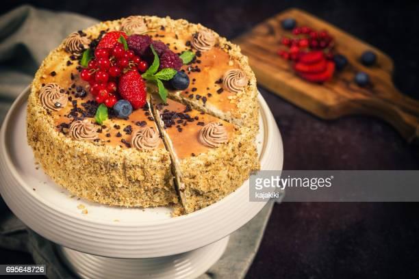 Chocolate Caramel Cake With Fresh Berry Fruits