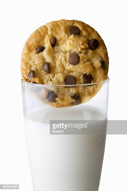Chocolate chip cookie and glass of milk