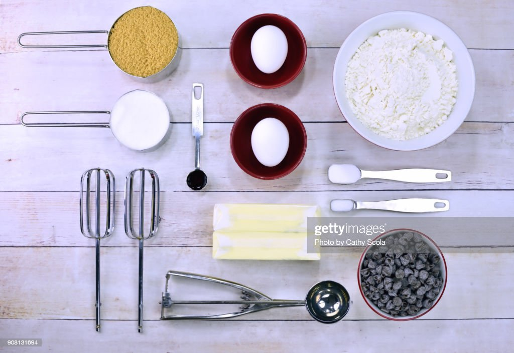 Chocolate chip cookie ingredients : Stock Photo