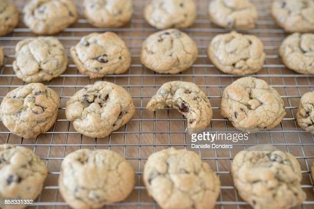 Chocolate chip cookies on a wire rack with a bite missing