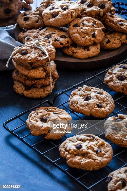 Chocolate chip cookies on dark kitchen table
