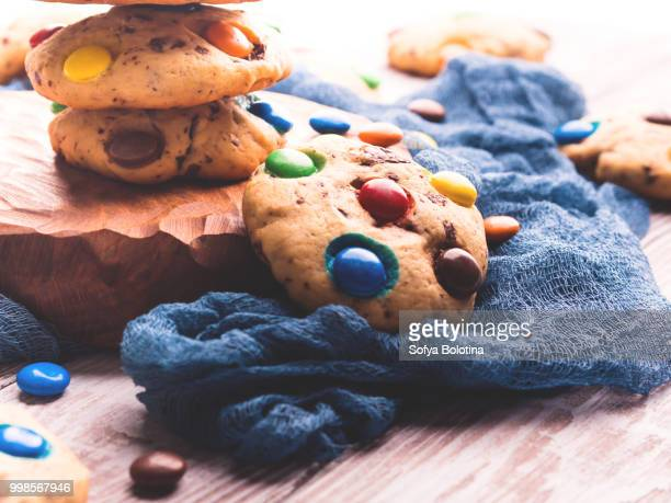 Chocolate chip cookies with candies. Retro toned
