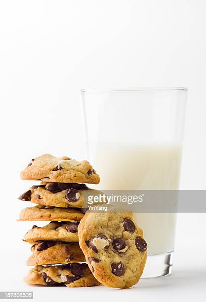 Chocolate Chip Cookies with Glass of Milk on White Background