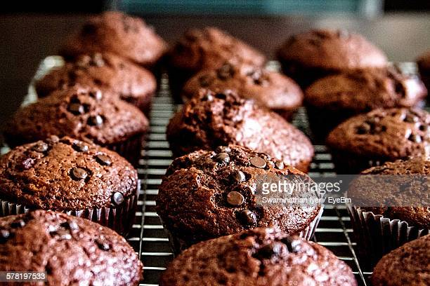 Chocolate Chip Muffins On Baking Tray