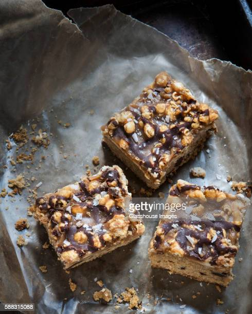 Chocolate Chip Squares with Caramel Popcorn Topping