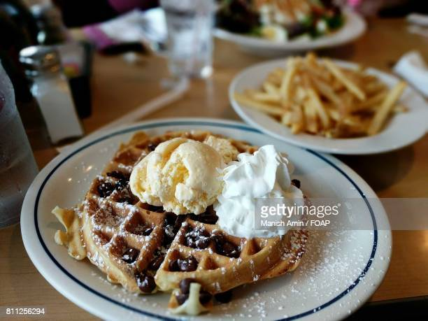 Chocolate chip waffles with ice cream