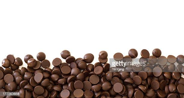 Chocolate Chips Cocoa Frame Border on White Background