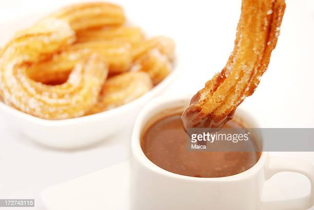 chocolate & churros - churro stock photos and pictures