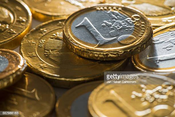 Chocolate coins in golden wrapping