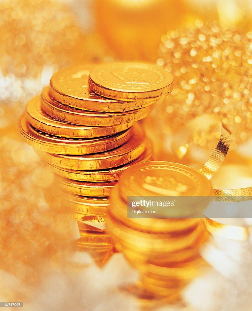 Chocolate Coins : Stock Photo