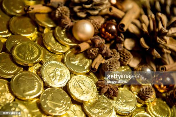 ILLUSTRATION  Chocolate coins pictured in Frankfurt am Main Germany 21 November 2015 In the early 19th century American chocolate manufacturers...
