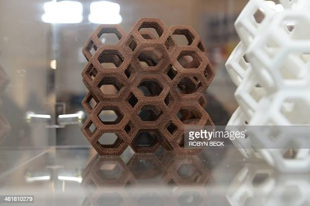 A chocolate confection made in the 3D Systems ChefJet Pro 3D food printer is displayed at the 2014 International CES January 9 2014 in Las Vegas...