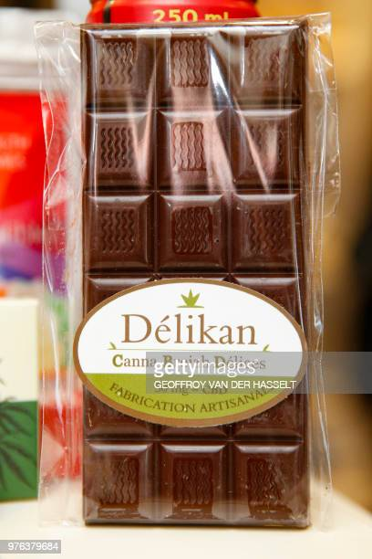 Chocolate containing CBD is seen in a shop in the Paris area on June 14 2018 The government recently reminded industries that only seeds and fibers...