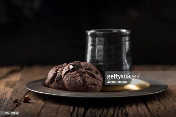Chocolate Cookies And Coffee Mug.