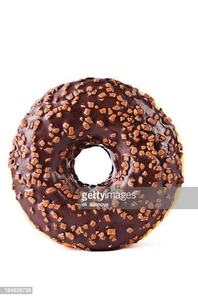 chocolate covered donut with nuts - donut stock pictures, royalty-free photos & images