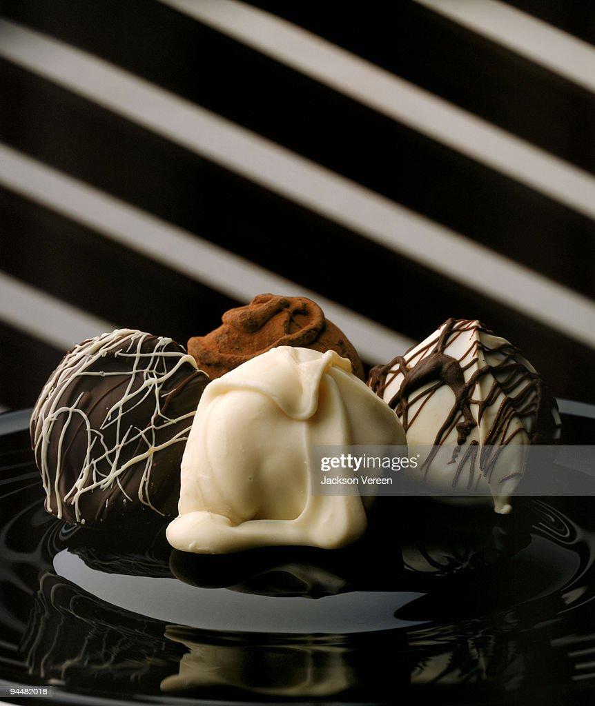 Chocolate covered truffles : Stock Photo