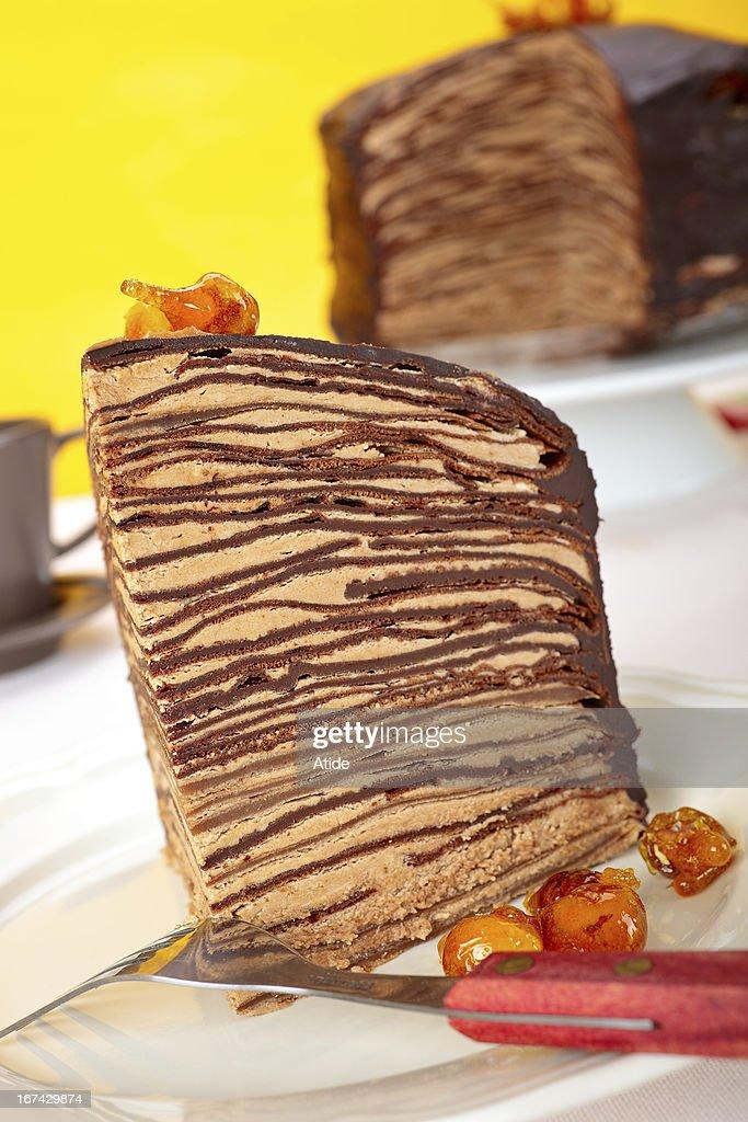Chocolate Crepes Cake : Stock Photo