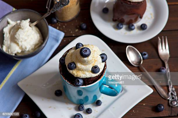 chocolate cup cake with whipped cream, cane sugar and blueberries - mug stock pictures, royalty-free photos & images