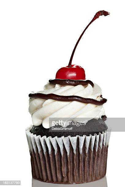 Chocolate Cupcake With Cherry Isolated