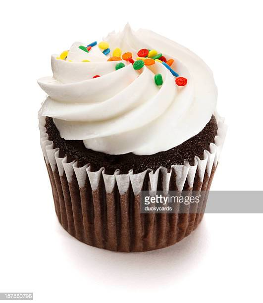 Chocolate Cupcake with Frosting on White Background