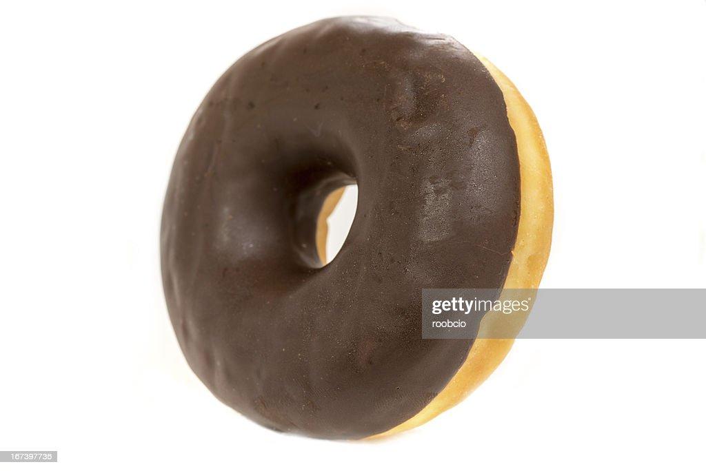 chocolate donut isolated on white background : Stock Photo