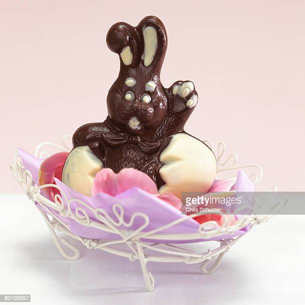 Chocolate easter bunny in basket