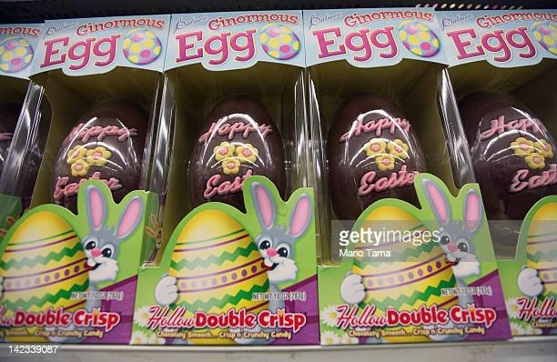 Chocolate Easter eggs are displayed in a Manhattan store on April 2 2012 in New York City Consumers are projected to spend 11 percent more money than...