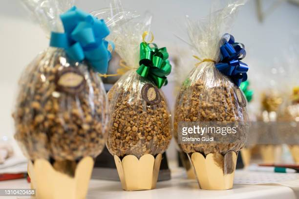 Chocolate Easter eggs for sale in the chocolate laboratory on April 02, 2021 in Turin, Italy. Since the 1930s, the Croci family's artisan laboratory...
