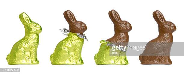 chocolate easter rabbits - easter stock pictures, royalty-free photos & images