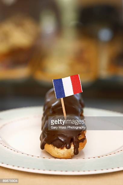 Chocolate Eclair with French flag