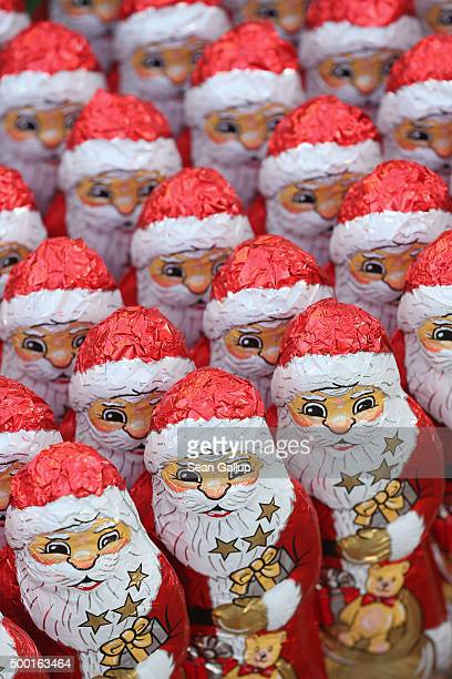 Chocolate figurines in the form of St Nicholas or Santa Claus stand in rows before they were given to participants in the 7th annual Michendorf Santa...