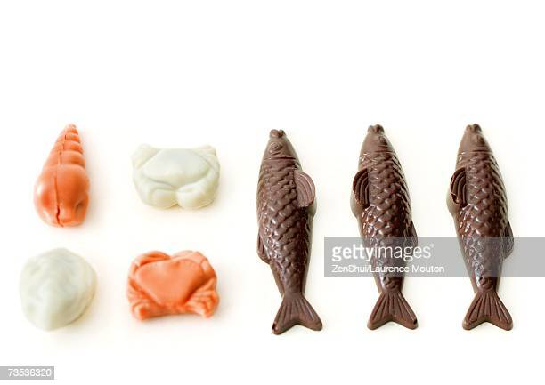 Chocolate fish and sea creatures