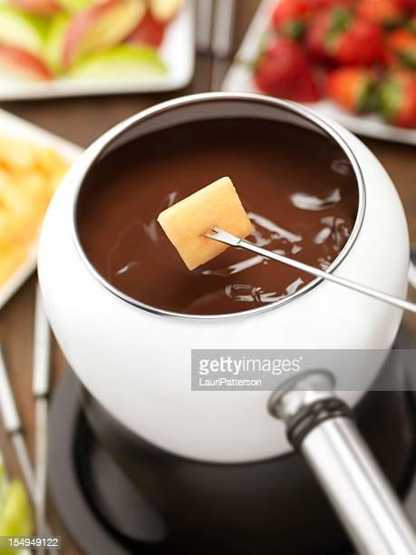 Chocolate Fondue with Cantaloupe