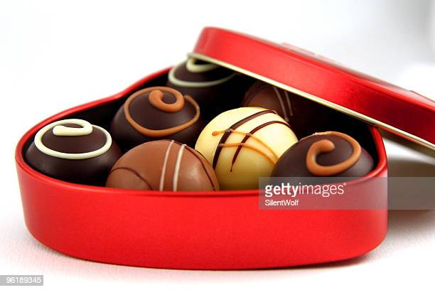 chocolate for valentine`s day - box of chocolate stock pictures, royalty-free photos & images