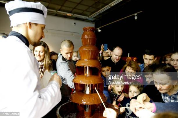 A chocolate fountain is seen during the Moscow Chocolate Salon in Moscow Russia on November 18 2017