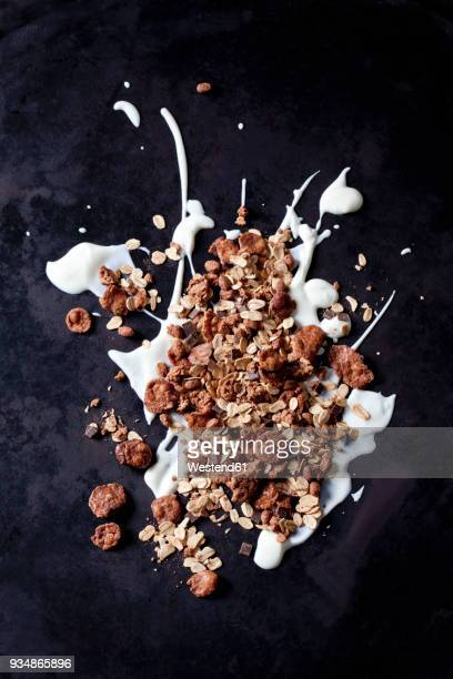 chocolate granola with coconut flakes on yoghurt splash - granola stock pictures, royalty-free photos & images