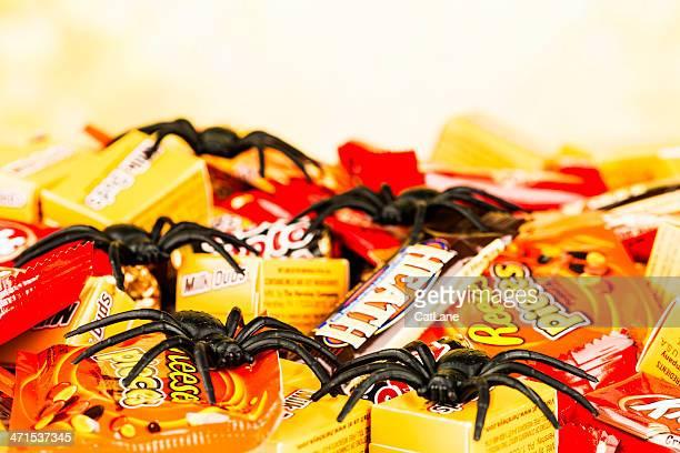 Schokolade, Süßigkeiten und gruselige Halloween Spiders