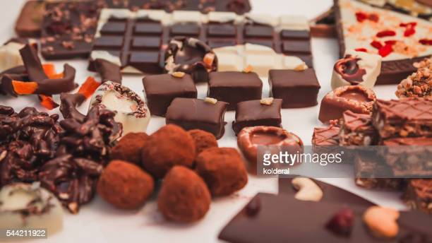 chocolate handmade candies - fudge stock photos and pictures