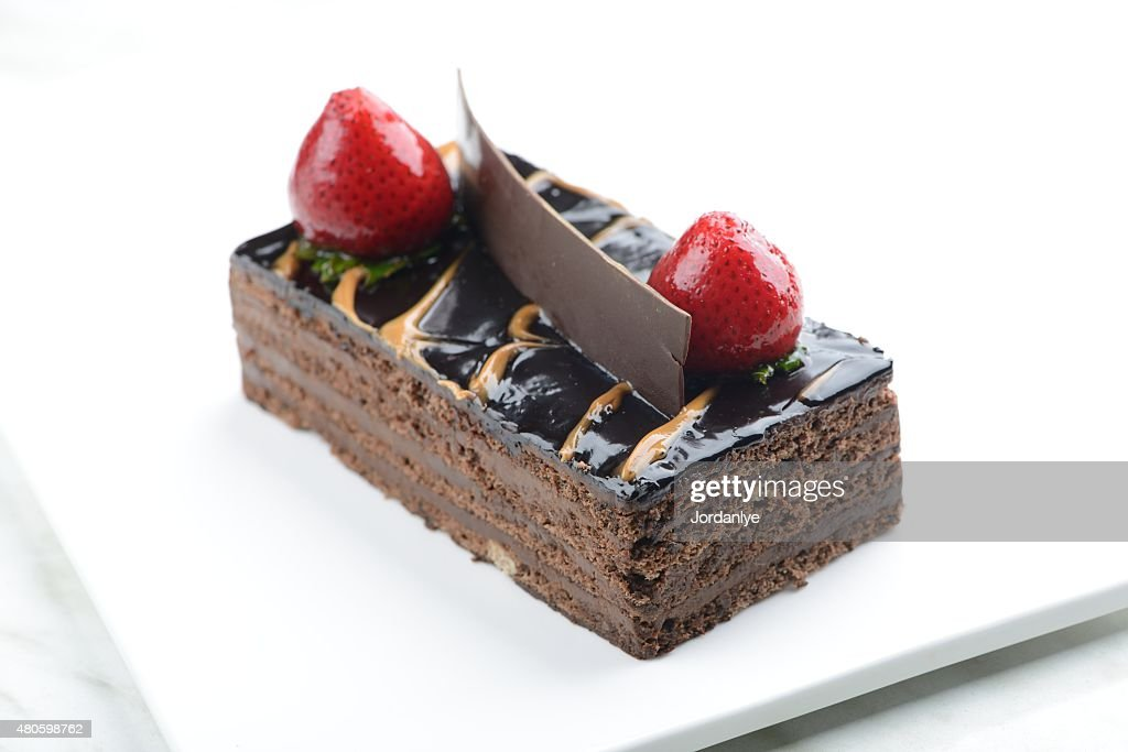 Chocolate hazelnut cream cake : Stock Photo