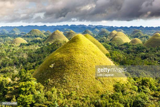 chocolate hills in bohol philippines - lagarde stock photos and pictures