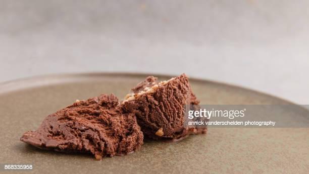 Chocolate ice cream with hazelnut.