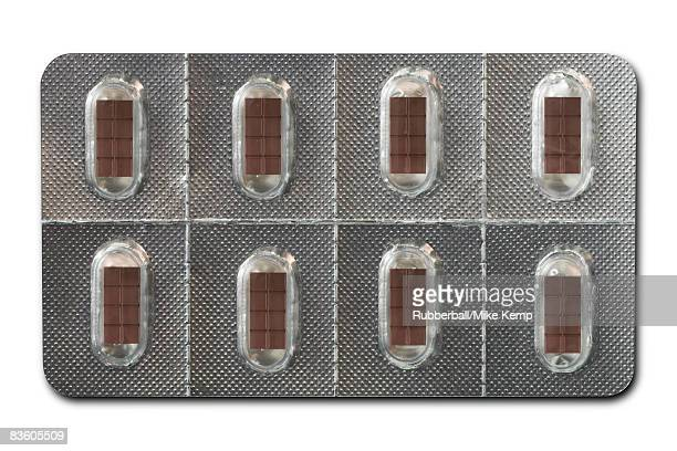 Chocolate in blister pack