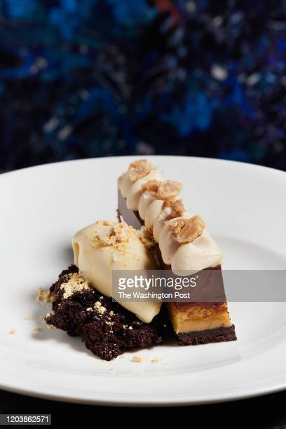 Chocolate Kinako Bar - dark chocolate crémeux, peanut, and toasted soy at Cranes restaurant in Washington, DC on February 15, 2020. .
