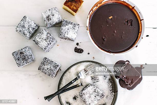 Chocolate lamingtons in the making