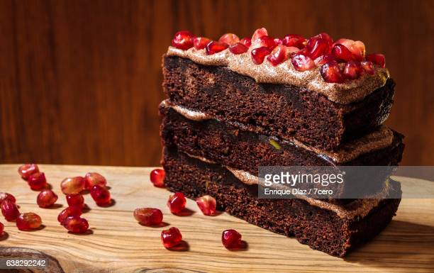 Chocolate Layer Cake with Pomegranates from theSide