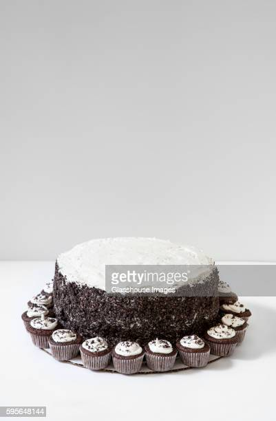 Chocolate Layer Cake with Vanilla Buttercream Frosting and Oreo Cookie Crumbs Surrounded by Mini-Cupcakes