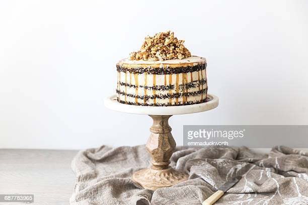 Chocolate layered sponge cake with caramel buttercream