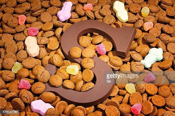 chocolate letter s and pepernoten - letter s stock pictures, royalty-free photos & images